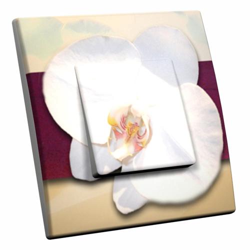 Interrupteur d cor orchid e white for Interrupteur decore