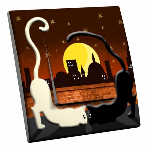 Interrupteur d cor chat noir chat blanc for Interrupteur decore