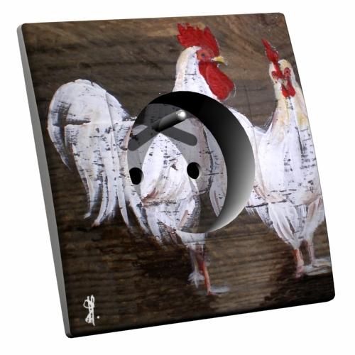 Interrupteur d cor coq et poule for Interrupteur decore