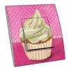 Interrupteur décoré Cupcake fond rose