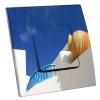 Interrupteur décoré Poterie sur fond bleu