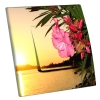 Interrupteur décoré Fleurs et coucher de soleil